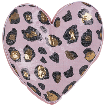 Pink Sequin Leopard Print Heart Pillow