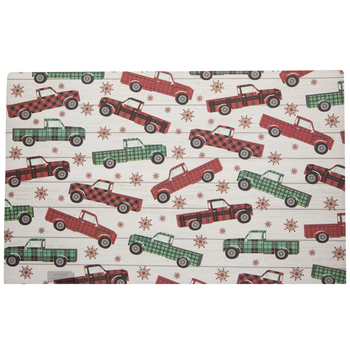 Red & Green Plaid Truck Placemat