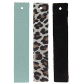 Leopard, Turquoise & Black Bar Leather Earring Blanks