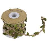 Green & Brown Leafy Burlap Rope