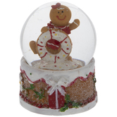 Gingerbread Man With Donut Snow Globe