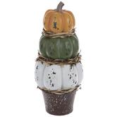 Orange, Green & White Distressed Stacked Pumpkins