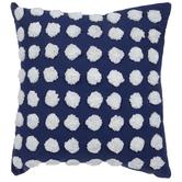 Blue & White Pom Pom Pillow