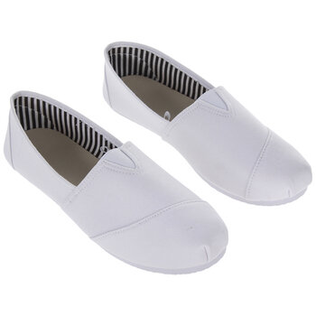 White Canvas Slip-On Ladies' Shoes