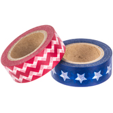 Red, White & Blue Stars & Chevron Washi Tape