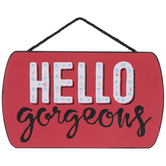Red Hello Gorgeous Wood Wall Decor