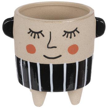 Striped Sleepy Face Flower Pot