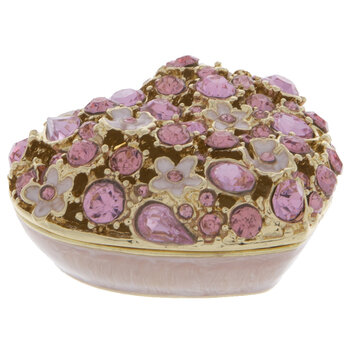 Pink Floral & Rhinestone Heart Jewelry Box