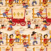 Lil Cowpokes Scene Cotton Calico Fabric