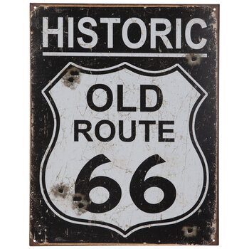 Route 66 Weathered Metal Sign