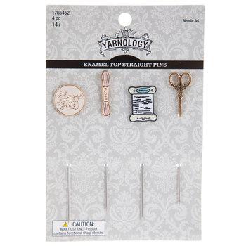 Enamel-Top Straight Sewing Pins