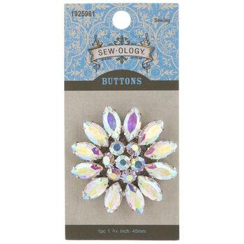 Crystal AB Floral Rhinestone Shank Button