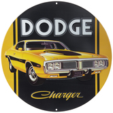 Yellow & Black Dodge Charger Metal Sign