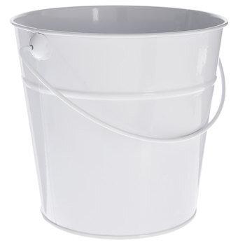 White Metal Bucket - Medium