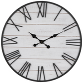 White Plank Wood Wall Clock