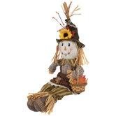 Scarecrow With Basket Shelf Sitter
