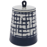 White & Blue Distressed Check Canister - Small