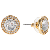 Faceted Rhinestone Round Earrings