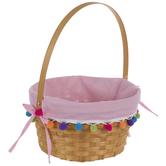 Pink Bamboo Pom Pom Easter Basket