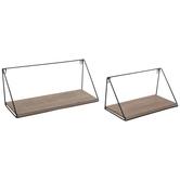 Black Wire Metal Wood Wall Shelf Set