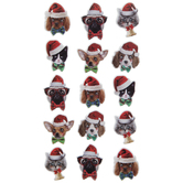 Pets With Santa Hats Puffy Stickers