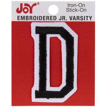 "Black Junior Varsity Letter Iron-On Applique D - 2"""