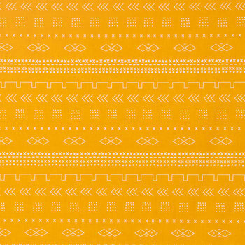 Mustard Mudcloth Inspired Cotton Fabric