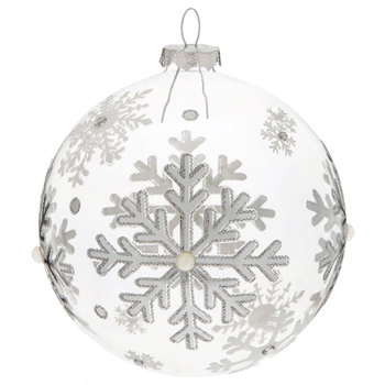 Silver Etched Ball Ornament