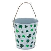 White & Green Shamrock Metal Bucket