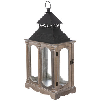 Antique Swiveling Door Wood Lantern