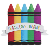 Teach Love Inspire Painted Wood Shape