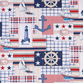 Nautical Patch Cotton Apparel Fabric