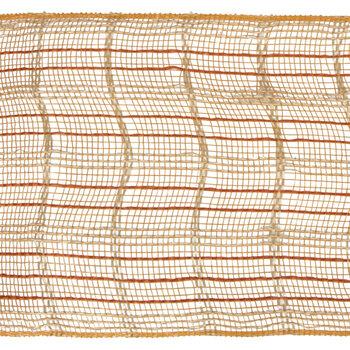 "Orange & Beige Checkered Deco Mesh Ribbon - 5 1/2"""