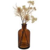 Thistle, Seed & Fern In Brown Vase