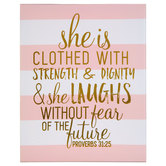 Proverbs 31:25 Striped Canvas Wall Decor