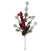 Pinecone & Holly Berry Flocked Pick