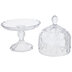 Scalloped & Embossed Glass Cake Stand
