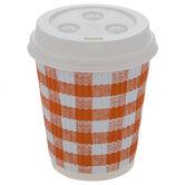 Orange & White Buffalo Check Paper Coffee Cups