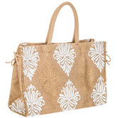 Gold & White Damask Jute Tote Bag