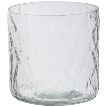 Crinkled Glass Candle Holder
