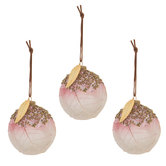 Pink Beaded Ball Ornaments With Leaves
