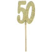 Gold Glitter 50th Anniversary Cupcake Toppers