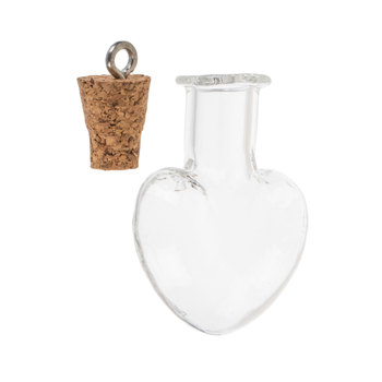 Heart Shaped Glass Bottle Charms