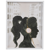 Girl With Headphones Wood Wall Decor