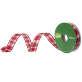 Red Wired Edge Plaid Ribbon - 1""