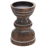 Dark Brown Wood Pedestal Candle Holder