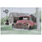Barn & Rusted Car Canvas Wall Decor
