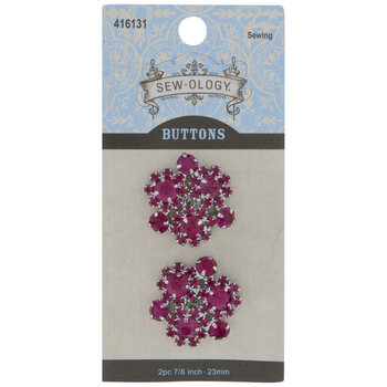 Fuchsia Rhinestone Flower Shank Buttons - 23mm