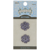 Tanzanite Rhinestone Flower Shank Buttons - 19mm