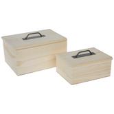 Wood Box With Metal Handle Set